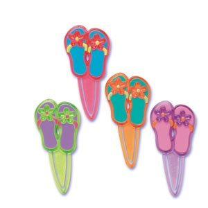 12 ct - Summer Flip Flop Bookmark Cupcake Picks (Bookmark Flip Flop)