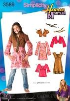 SIMPLICITY PATTERN 3589 HANNAH MONTANA GIRLS /GIRLS PLUS DRESS MINI-DRESS OR TUNIC AND TOP, JACKET WITH SLEEVE VARIATIONS AND SCARF SIZE BB 81/2- 161/2 (Hannah Montana Scarf)