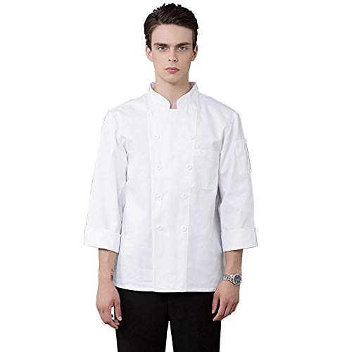 lightclub Spring Autumn Winter Solid Color Long Sleeve Double Row Buttons Pocket Chef Shirt Top Cook Chef Costume For Restaurant Hotel Kitchen White M -