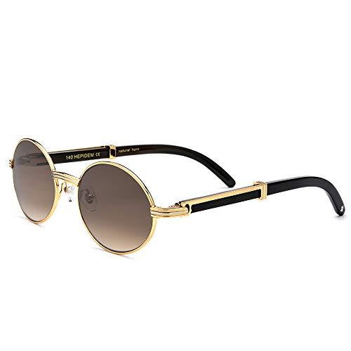 HEPIDEM Buffalo Horn Handmade Sun Glasses Round Luxury Sunglasses 0818 (Black ()