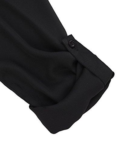 ZANZEA Mujeres Bluas Con Manga Larga V Cuello Camisa BLouses T Shirt Pullover Tunica OL Sólido Color Negro
