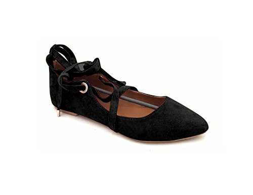 Women's Faux Suede Pointed Toe Ankle Strap Lace up Flat Ballerina Shoes (7, Black)
