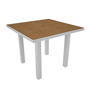 POLYWOOD Euro Square Dining Table Finish Silver Plastique
