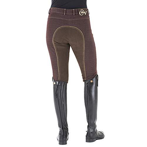 Ovation Ladies' Euro Jean Front Zip Full Seat Breeches,Brown,24R - Seat Breech Zip Full