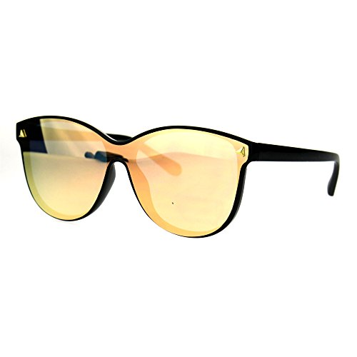 Mens Unique Shield Hipster Plastic Hornrim Color Mirror Lens Sunglasses - Glasses Hipster Guys