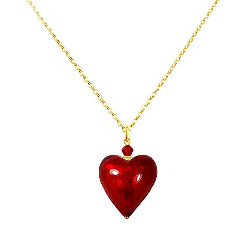 Red Glass Heart Necklace (Murano Glass Small Red Heart on 24K Gold Vermeil Chain by I Love Murano)