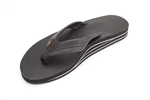 Rainbow Sandals Men's Double Layer Classic Leather w/Arch, Black, Men's X-Large / 11-12 D(M) US