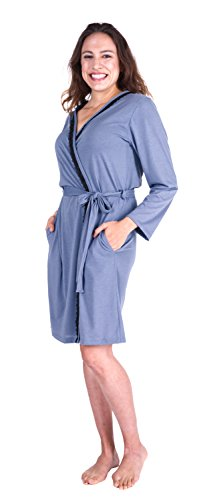 Cool-jams WICKING ROBE FOR TRAVEL AND HOT NIGHTS (Small/Medium, Dusty-Periwinkle)