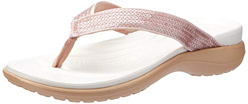 Crocs Women's Capri V Sequin W Flip-Flop, Rose Gold, 9 M US