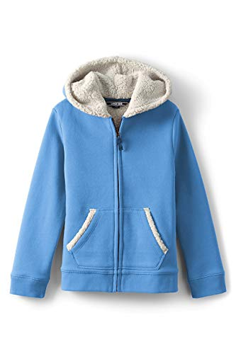 Lands End Kids Fleece - Lands' End Little Girls Sherpa Lined Hoodie, S, Azure Blue