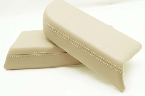 (Fits 2009-2013 Honda Pilot Real Tan (Ivory) Leather Front Door Panels Armrest Covers (Leather Part Only))