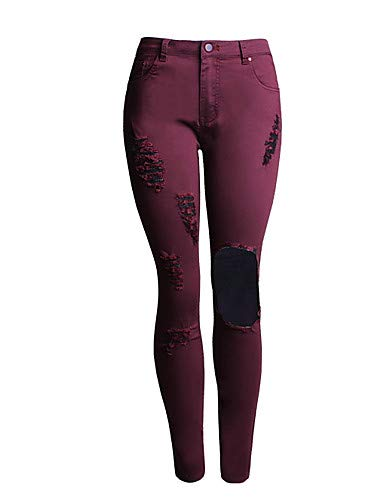 YFLTZ Pantalon Jeans Slim Femme - Couleur Unie/Color Block High Taille Wine