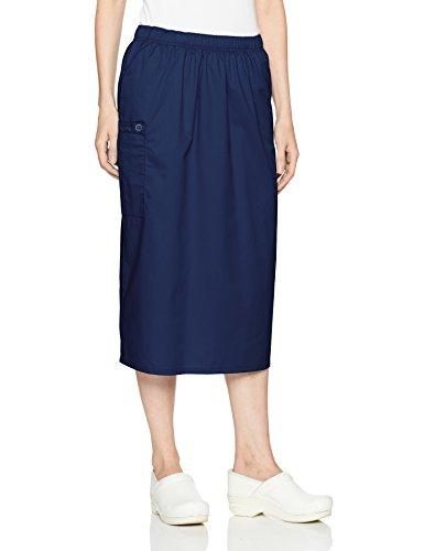 Navy Twill Skirt (WonderWink Women's Wonderwork Pull-on Cargo Scrub Skirt, Navy, Medium)