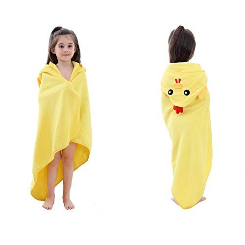 DURUI Hooded Animal Towel 0 to 5 Years Old Kids and Toddlers 100% Premium Cotton Ultra Soft, Super Absorbent, Use for Bath/Pool/Beach Times 90X90CM (Yellow Chick) by DURUI