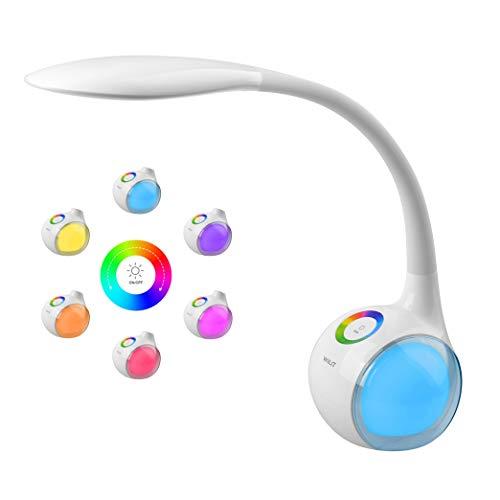 WILIT T3 Lampara de Escritorio Tactil, Flexo LED Regulable, Lampara de Mesa Ajustable, 256 RGB Luz de Color, 3 Niveles de Brillo, Brazo Tipo Cuello de Cisne, Proteccion para los Ojos, 5W, Blanco