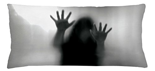 Lunarable Horror House Throw Pillow Cushion Cover, Silhouette of Woman behind the Veil Scared to Death Obscured Paranormal Photo Print, Decorative Square Accent Pillow Case, 36 X 16 Inches, Gray by Lunarable