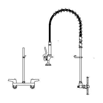 Delta 55P1513 2 Hndl Pre-Rinse Wall-Mnt Faucet Chrome - Touch On ...