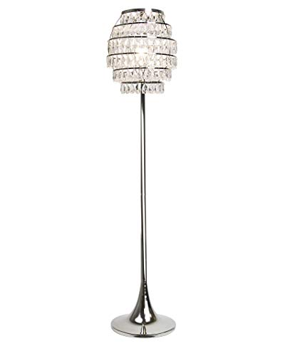 """Grandview Gallery 63.25"""" Polished Nickel Modern Bling Floor Lamp ft. 6-Tier Shade with Genuine Crystal Faceted Teardrop Dangles and Elegant Tapered Pedestal Base - Glam Lighting for Any Space"""