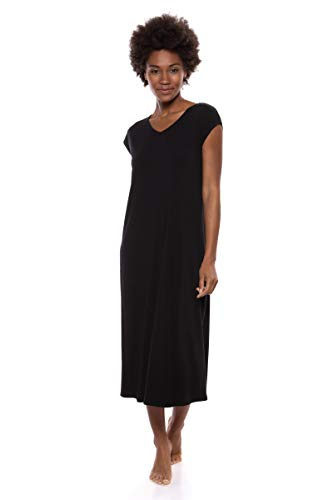 (Texere Women's Jersey Casual Lounge Dress (Caila, Black, S) Soft Nightgown )