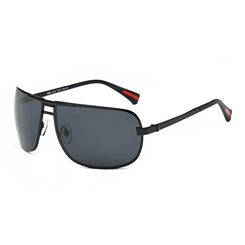 DONNA Oversized Sports Sunglasses with Big Wrap Around Lens and Double Bridge for Driving Golf Motorcycle Baseball D60(Matte Black - Around Wrap Shades