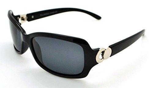 VOX Polarized Trendy Classic Womens Hot Fashion Sunglasses w/FREE Microfiber Pouch - Black/Silver Frame - Smoke Lens