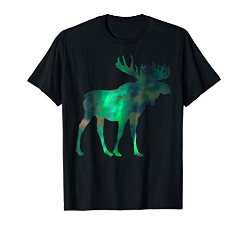 Canada, Moose With Northern Lights Sky & Clouds Nature Art