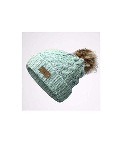 d36d54d7d9c ikimons Pom pom Beanie Knit Slouchy Baggy Fleece Lined Winter Hat Ski Cap  Women-Mint