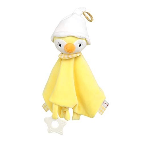 Baby Security Blankets,Lovely Plush Stuffed Chick Soothing Toy with Silicone Teether and Built-in Bell,11