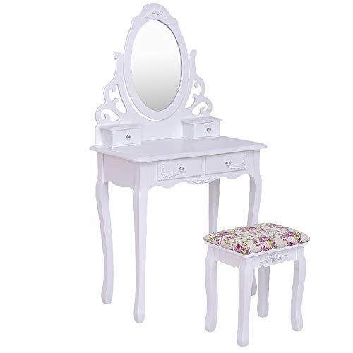 Dressing Table Stool Set Mirror Rose Vanity Makeup Cushion ()