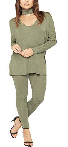 F&F Womens Ladies Chocker Neck Long Sleeve Top Legging Bottoms Tracksuit Loungewear (SM, Khaki) by Fashion & Freedom