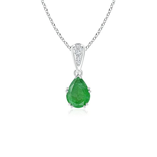 Vintage Style Pear Emerald Drop Pendant with Diamonds in Platinum (7x5mm -