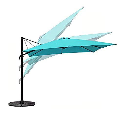 COBANA Offset Rectangular Cantilever Aluminum Patio Umbrella 10 Feet with Cross Base and 360 Degree Rotation, Blue