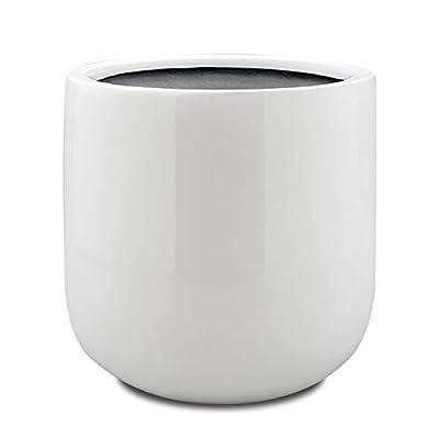 Vase Source White Shiny Round Planter - Round Bottom Fiberglass Flower Pot 13