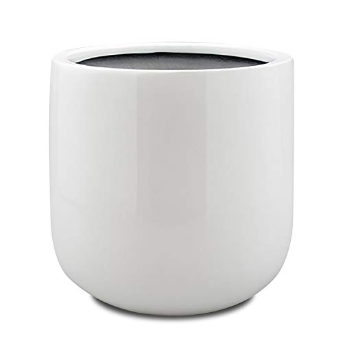 (Vase Source Shiny White Round Fiberglass Planter - Round Bottom Flower Pot 17