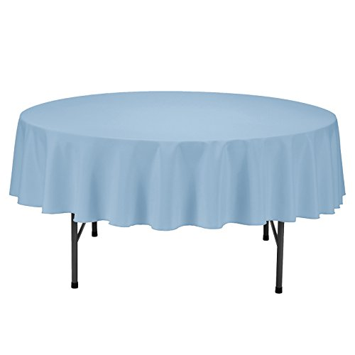 (Remedios Round Tablecloth Solid Color Polyester Table Cloth for Bridal Shower Wedding Table - Wrinkle Free Dinner Tablecloth for Restaurant Party Banquet (Baby Blue, 70 inch))