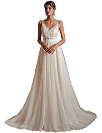 Women's V-Neck A-line Lace Tulle Long Beach Wedding Dresses for Bride