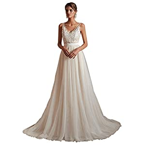 Ikerenwedding Women's V-Neck A-line Lace Tulle Long Beach Wedding Dresses for Bride