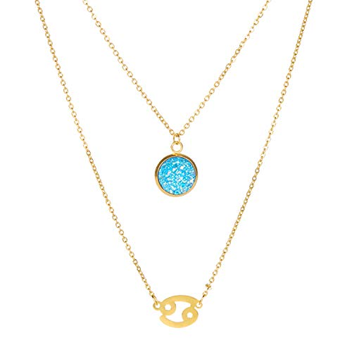 LA BON Multilayer Zodiac Necklace for Women - 12 Constellation Horoscope Necklace with Guardian Stone,Gift for Birthday, Graduate, Dating and Daily Wear (♋ Cancer Constellation Necklace)