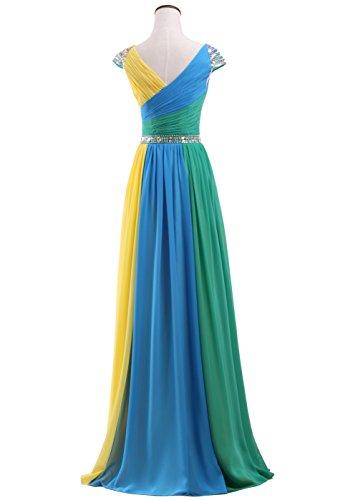 Callmelady Robes De Bal Longue Multicolore Robe Maxi En Mousseline De Soie À Manches Bouchon Perles Multicouleurs