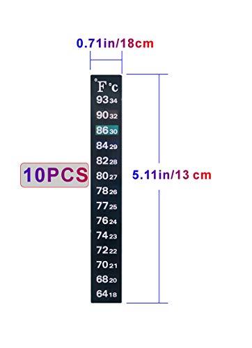HITOP Aquarium Traditional Thermometer Sticker,with Fahrenheit Celsius Dual-Temperature Display, for Aquarium Fish Tank,10 pcs