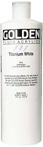 3M 0002380-6 Golden Artist Fluid Acrylic Colors, 16 oz, Titanium White (Paint Fluid Acrylic)