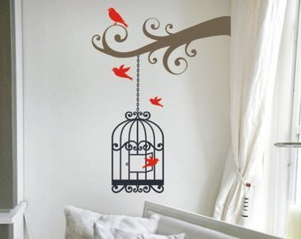 Scrollwork Cage (Vinyl Decal- Scrollwork Tree Branch with Birdcage Wall Sticker)