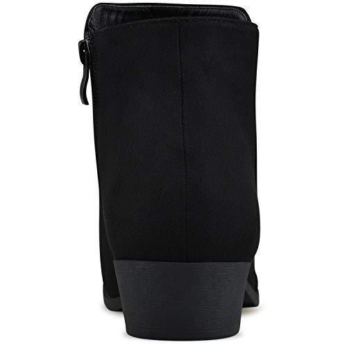 Toe Black Side Standard Low Walking Heel Casual Booties Premier Zipper Suede Booties Women's Comfortable Closed BUnxHHO4