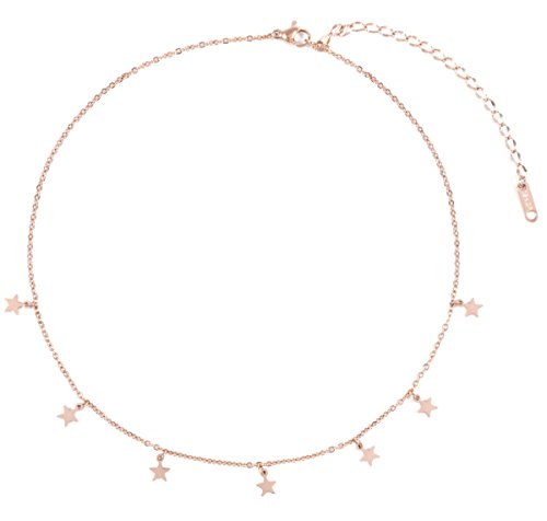 Happiness Boutique Star Pendant Necklace Rose Gold | Delicate Choker Necklace Stainless Steel Jewellery Nickel ()