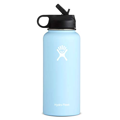 Hydro Flask Wide Mouth Water Bottle, Straw Lid - 32 oz, Frost
