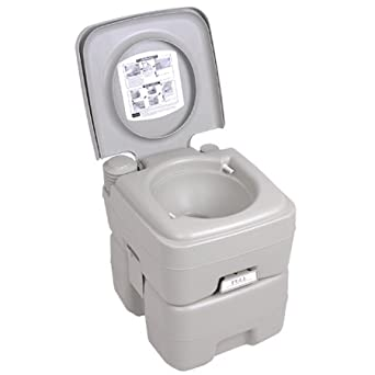 5 Gallons Portable Camping Toilet Outdoor Potty Gray With Dual Jet Stream  Flush Bowl Waste U0026