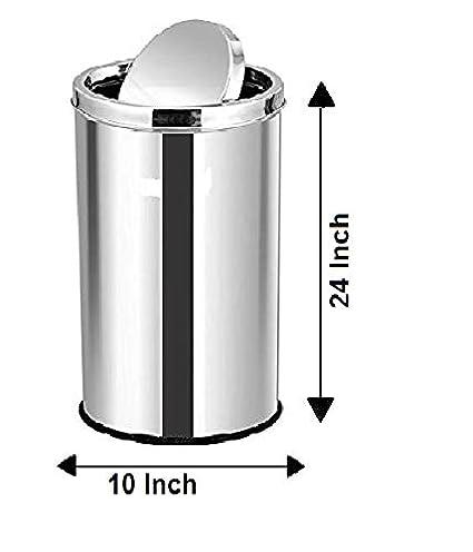 KTC Plus Stainless Steel Swing Bin Dustbin (10x24 Inch 30 Litre)