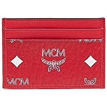 MCM Men's White Logo Visetos Mini Card Case