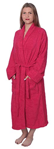 Womens 100% Cotton Shawl Collar Robe Terry Cloth Bathrobe Available in Plus Size BRT1_Y19 Hot Pink 1X