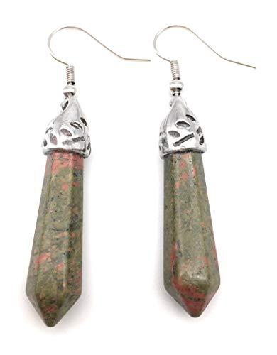 (xinpeng Pair Healing Chakra Natural Quartz Stone Crystal Gemstone Bullet Shape Hook Dangle Earrings for Women Girls Gift (Unakite))